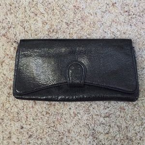 Express black faux leather clutch